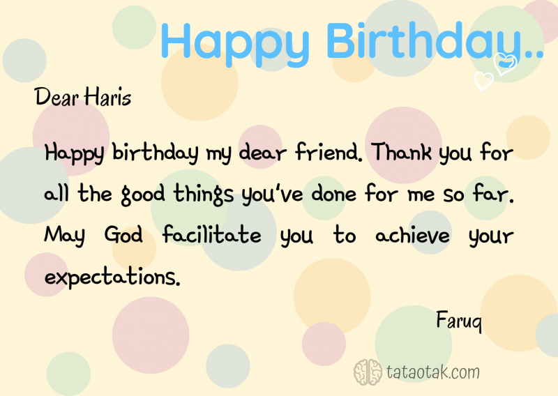Contoh greeting card happy birthday friend